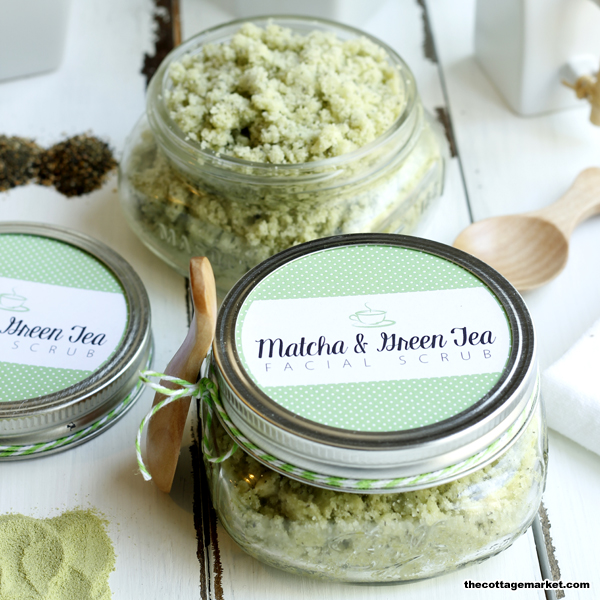 This DIY facial scrub is infused with green tea and matcha powder.