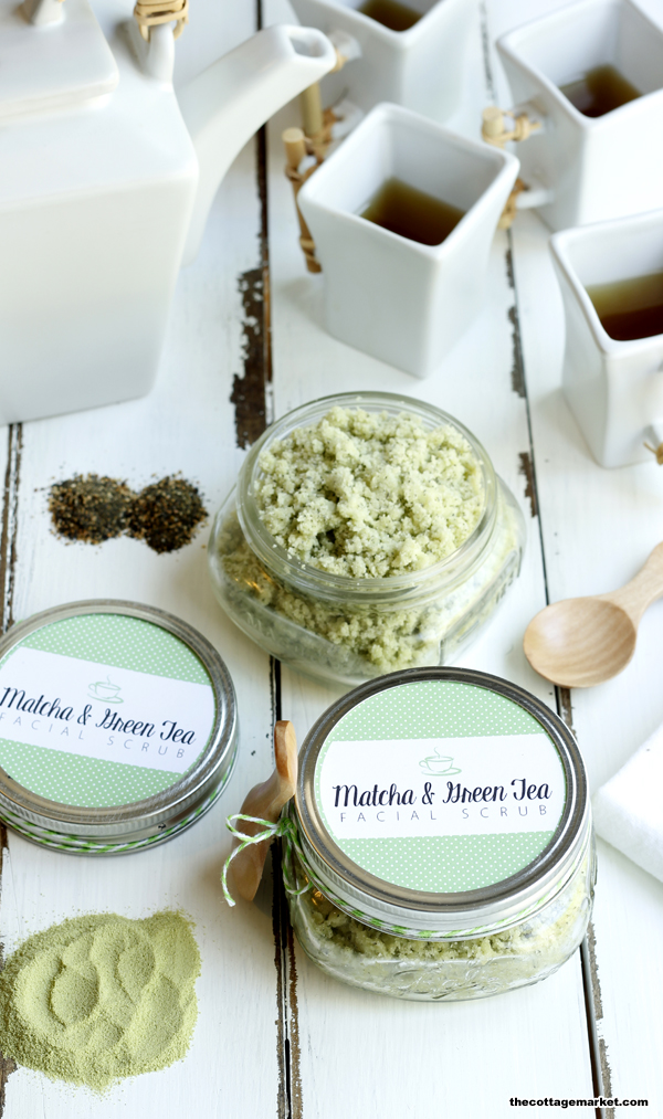 This DIY facial scrub is easy to make and a fun green color.