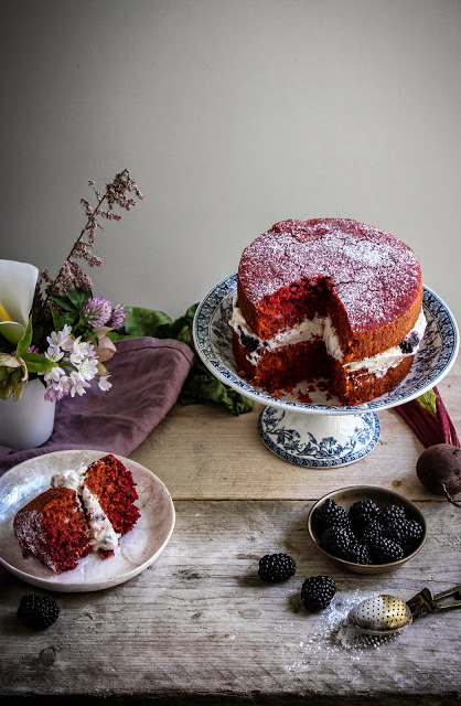 beetroot cake with blackberry creme fraiche-29