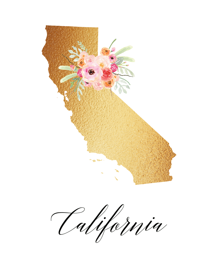 This free printable state are of California would make great wall decor.