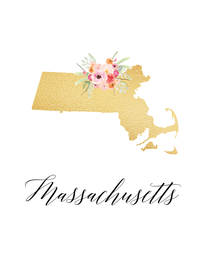 This free Massachusetts printable with the state and a flower detail is so cute.