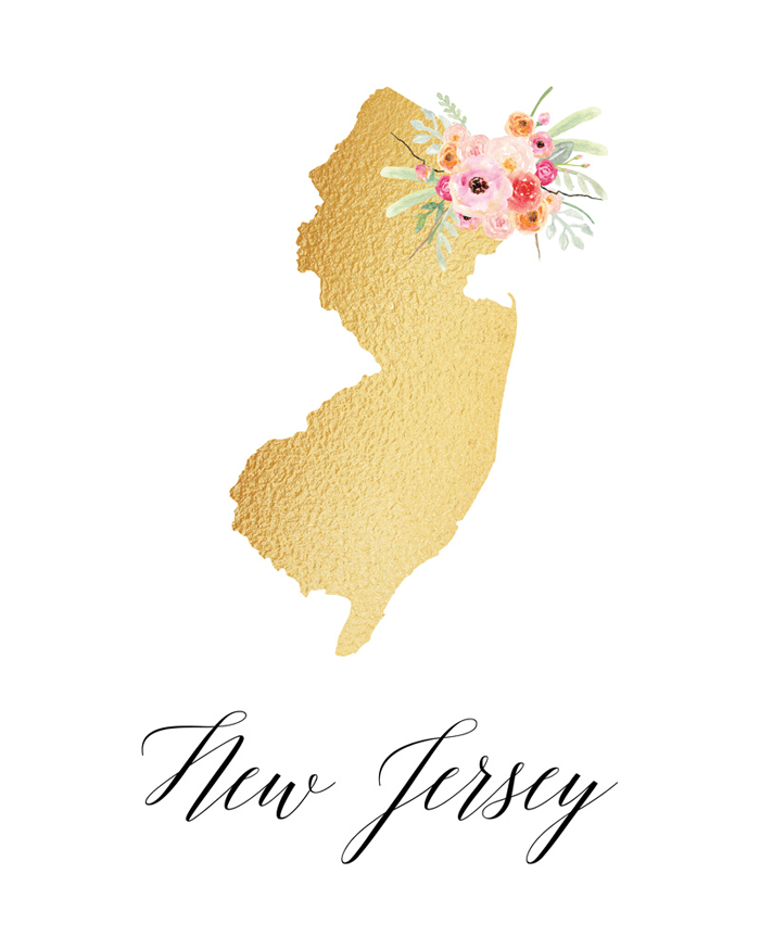 This New Jersey printable art with cute font and a flower detail is adorable.