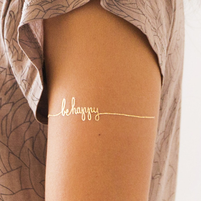 gold foil temporary tattoos are hip and fun for a girl's night sleepover