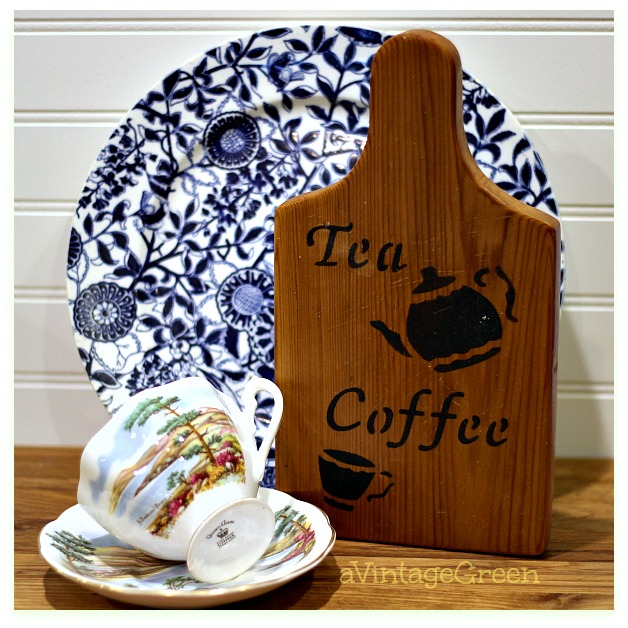 cup and saucer blue and white plate breadboard sign