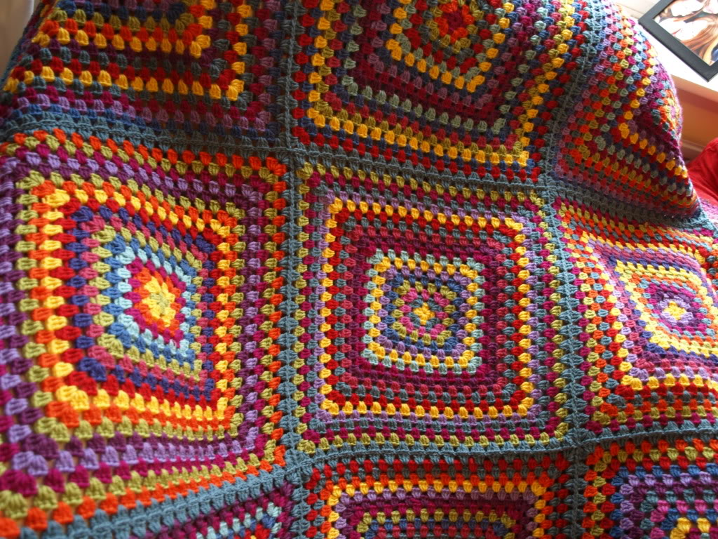 This exotic crocheted blanket is colorful and stands out.