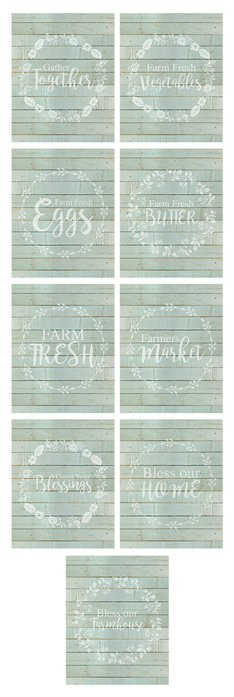 These farmhouse printables are vintage looking and colorful.