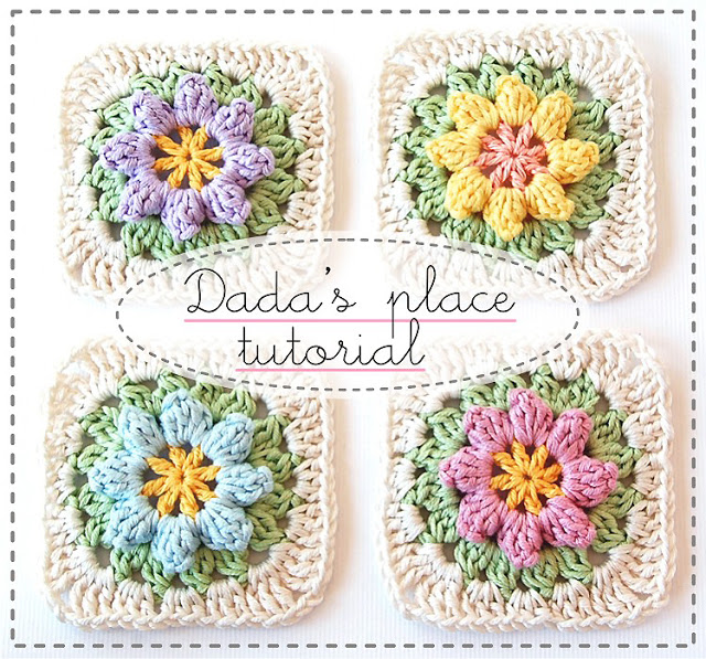 These crocheted granny squares with flowers in the middle are fun.