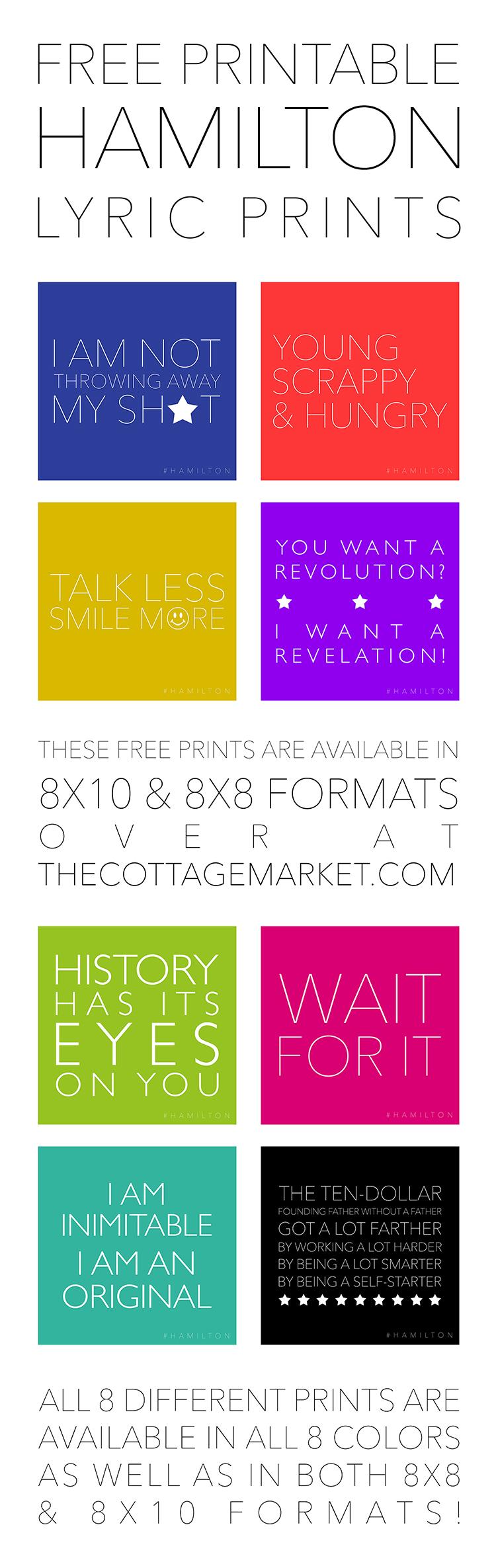 Use these free Hamilton lyric printables as decor.