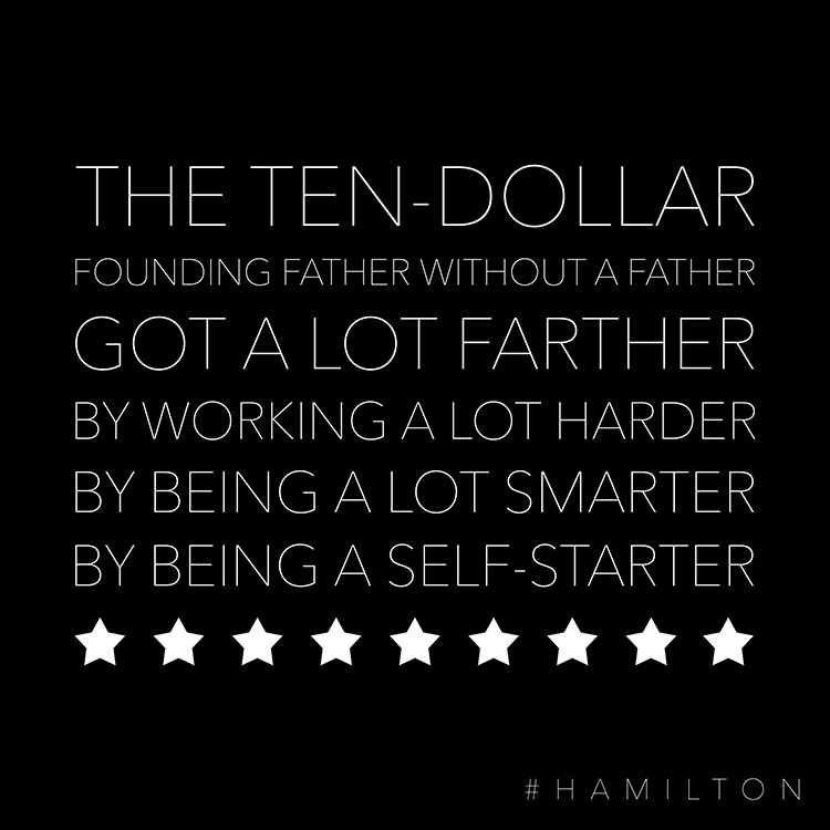 This Hamilton lyric printable with stars is heart warming and cute.