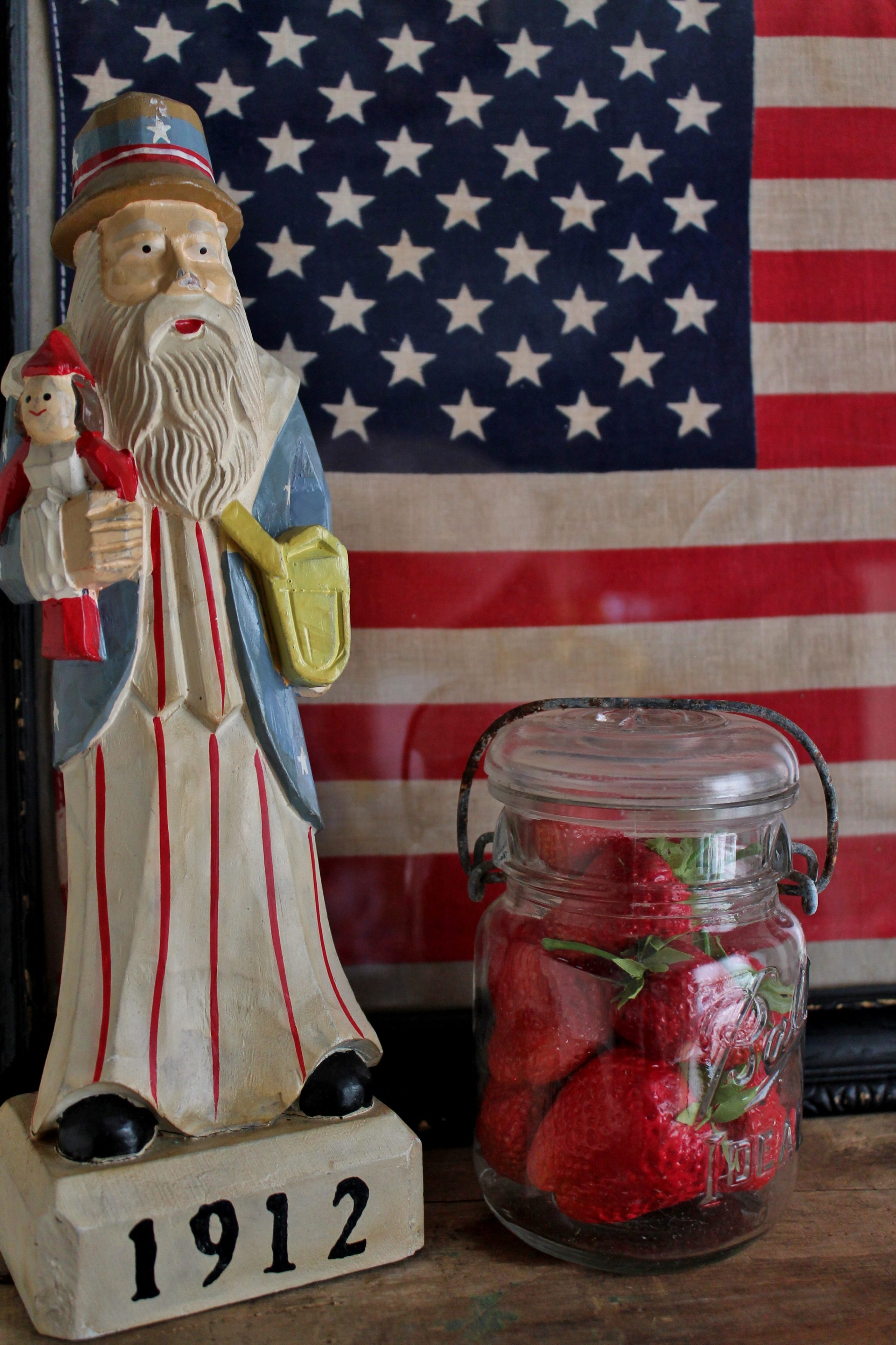 uncle-sam-and-strawberries-with-framed-vintage-flag