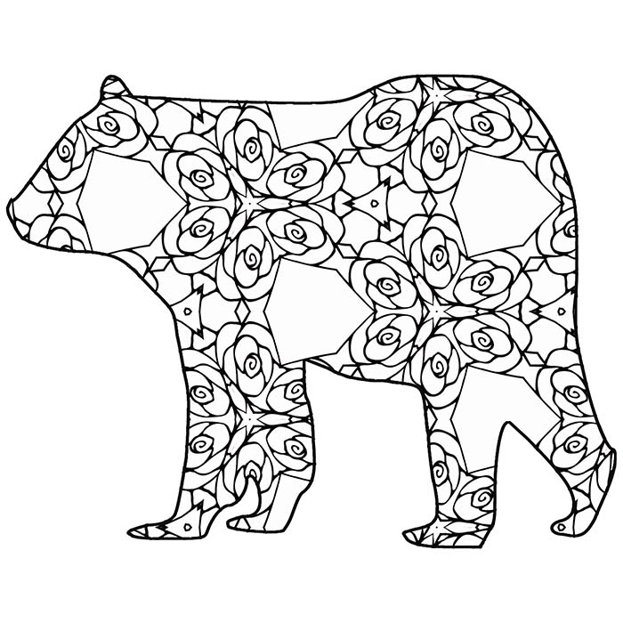This printable geometric bear is free and fun to color.