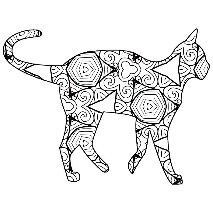This printable geometric cat coloring page is full of fun shapes.