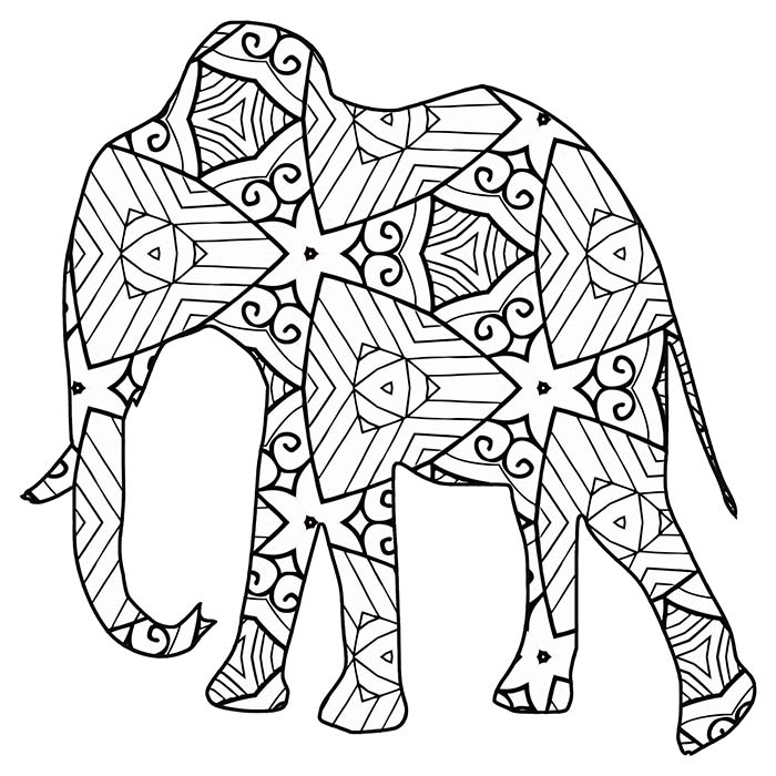 This geometric elephant is full of lines and shapes that are fun to color.