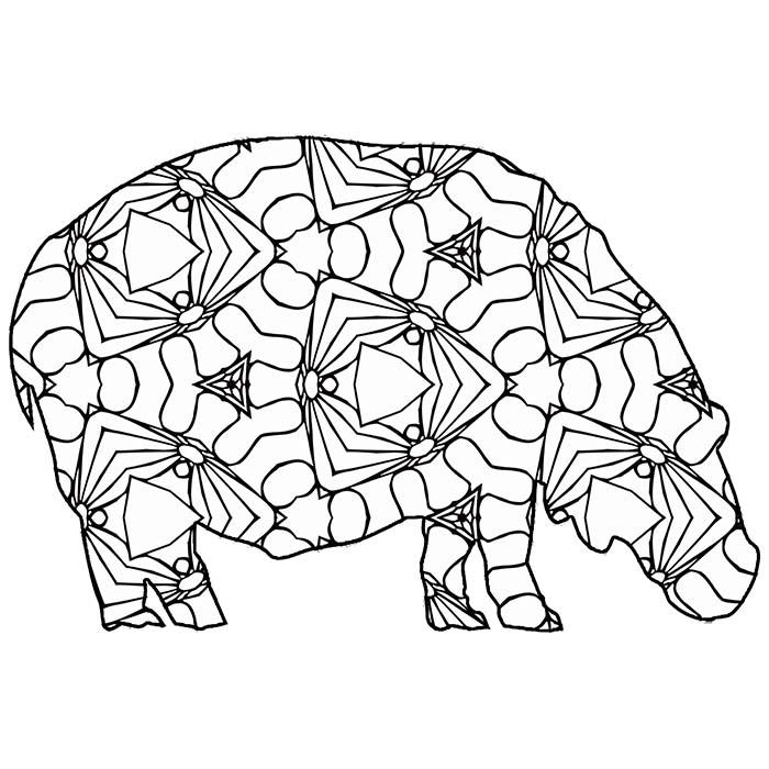 This printable hippopotamus graphic is full of geometric shapes.