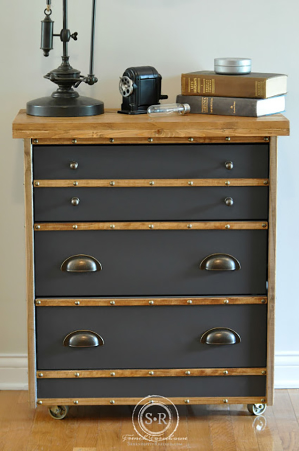 IKEA rast dressers can be transformed into a lot of things, but this industrial style dresser is a gorgeous reimagination