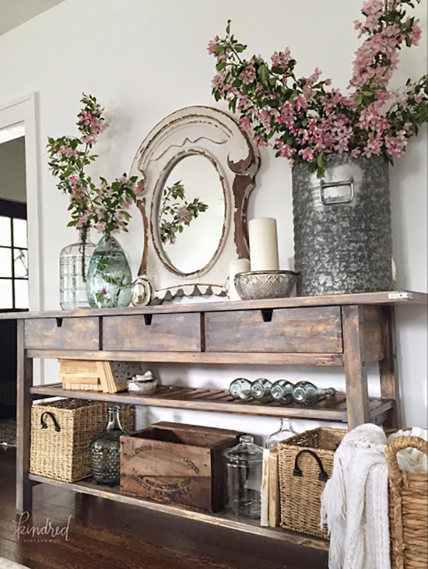 This simple IKEA sideboard storage was turned into this dream farmhouse creation