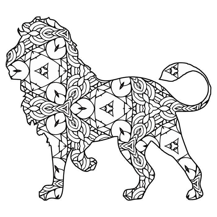 This lion graphic is full of geometric shapes.