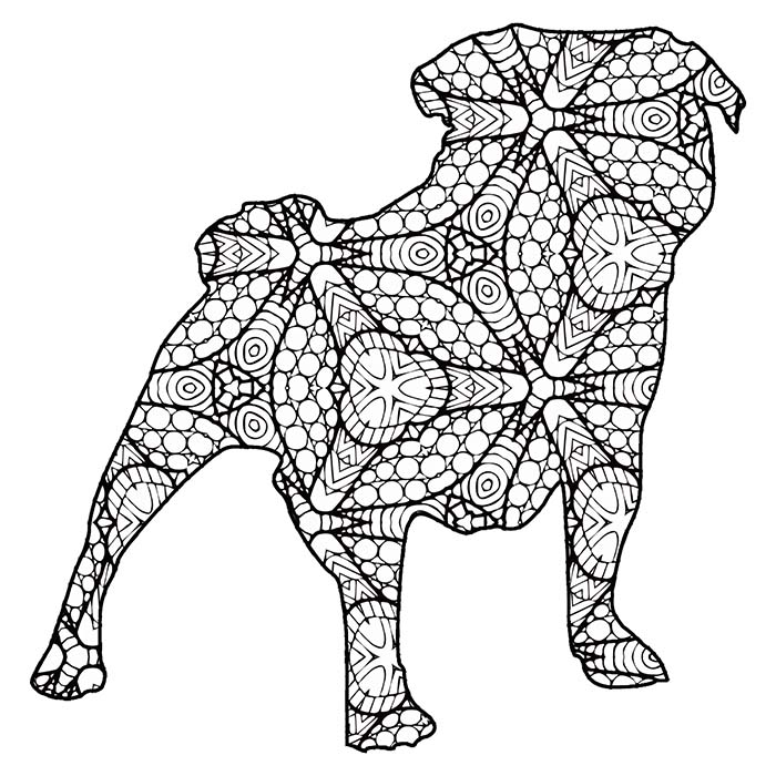 This printable geometric pug graphic is a great coloring page.