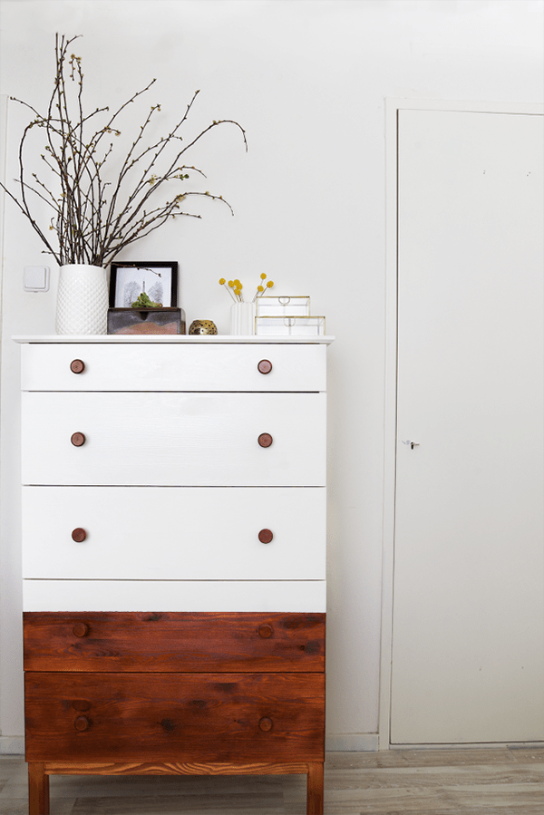 This two-toned dresser is modern on the top and rustic on the bottom