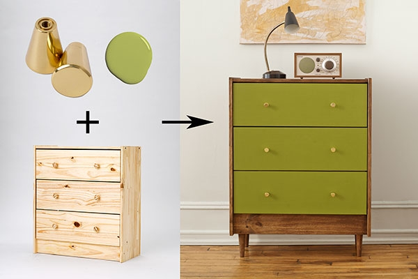 The vibrant green paint color for this IKEA dresser transforms it into a stunning piece