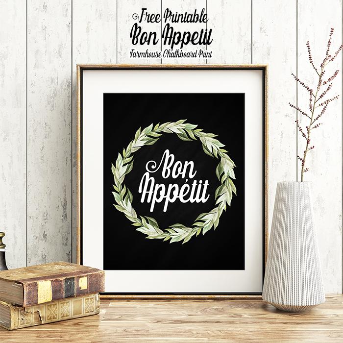 Free Printable Bon Appetit Farmhouse Chalkboard Print