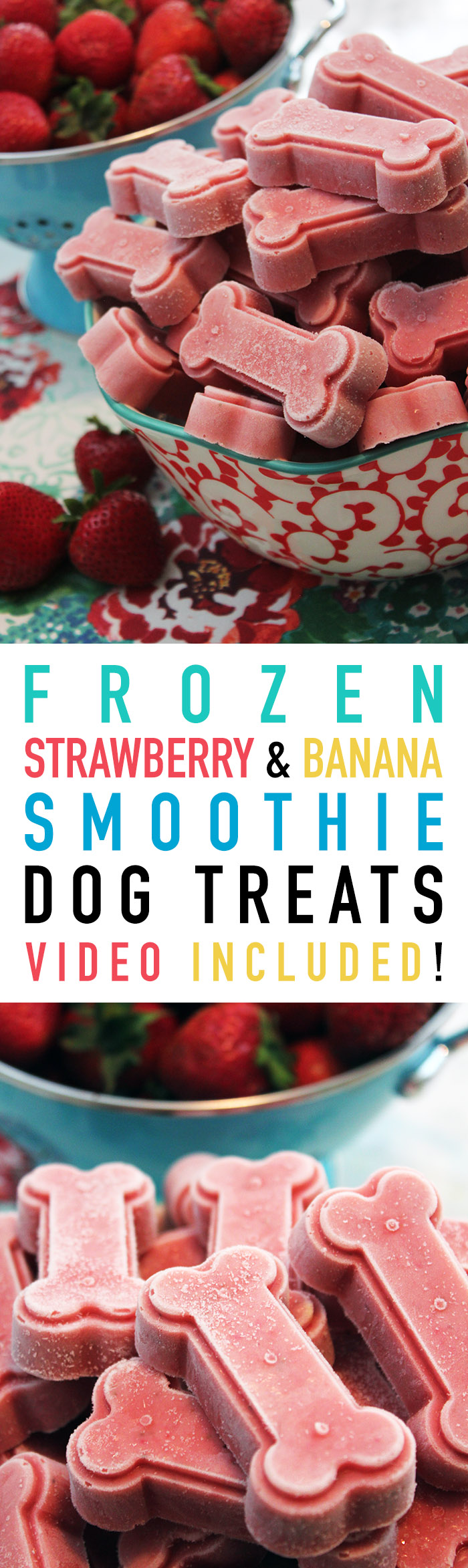 Frozen Strawberry & banana Smoothie Dog Treats | Video Included with Recipe!