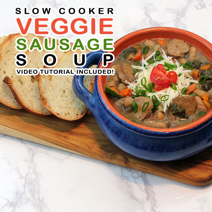 Slow Cooker Veggie Sausage Bean Soup // Video Tutorial Included!