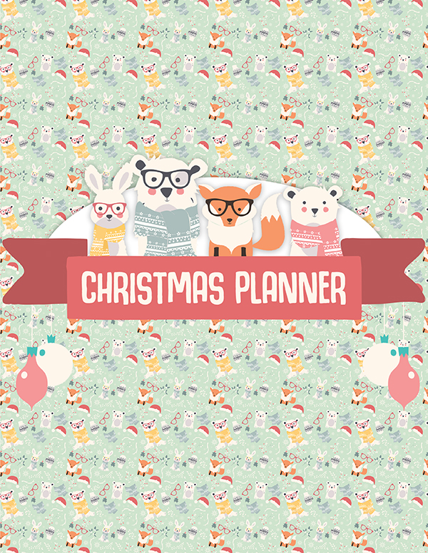 Christmas Planner Front Cover - This adorable woodland creatures christmas planner will help you plan the perfect Christmas