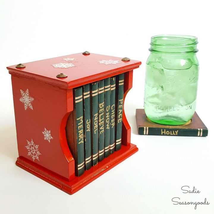 Vintage_bookcase_book_coaster_set_repurposed_and_upcycled_into_DIY_personalized_Christmas_party_coasters_decor_by_Sadie_Seasongoods