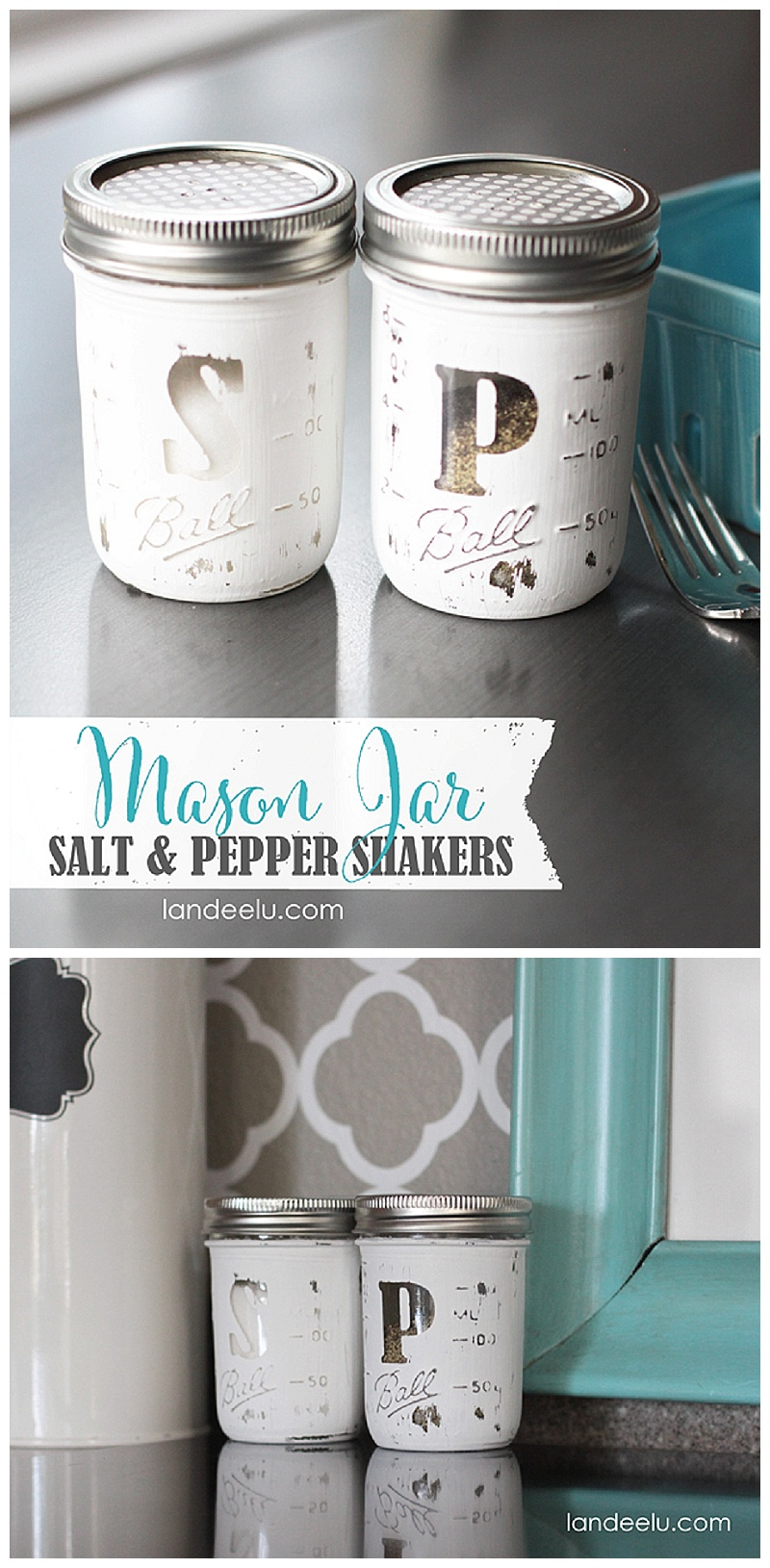 These salt and pepper mason jar shakers are white and look rustic.