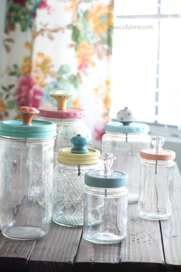 These mason jar canisters will glass knobs are great storage and colorful too.
