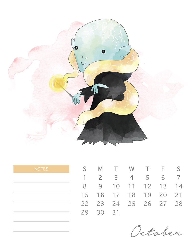 Voldemort - Harry Potter Watercolor Cartoon Calendar