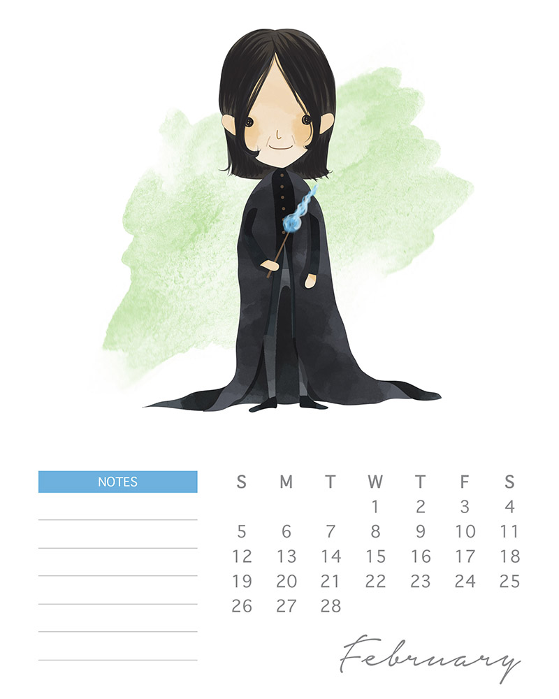 Professor Snape - Watercolor Harry Potter Calendar - February 2017