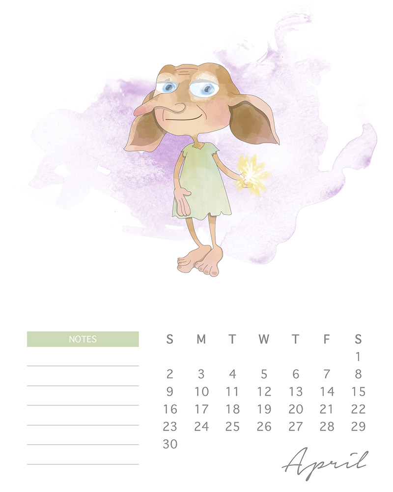 Dobby - Harry Potter Printable Calendar - April 2017