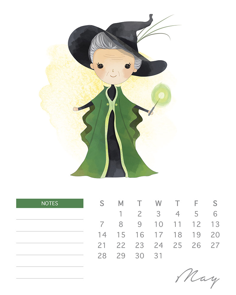 Professor McGonagall - Harry Potter Printable Calendar - May 2017