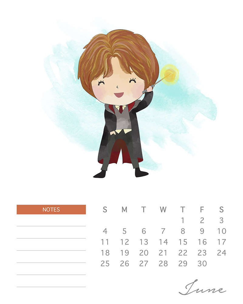 Ron Weasley - Harry Potter Calendar - Watercolor Characters - June 2017
