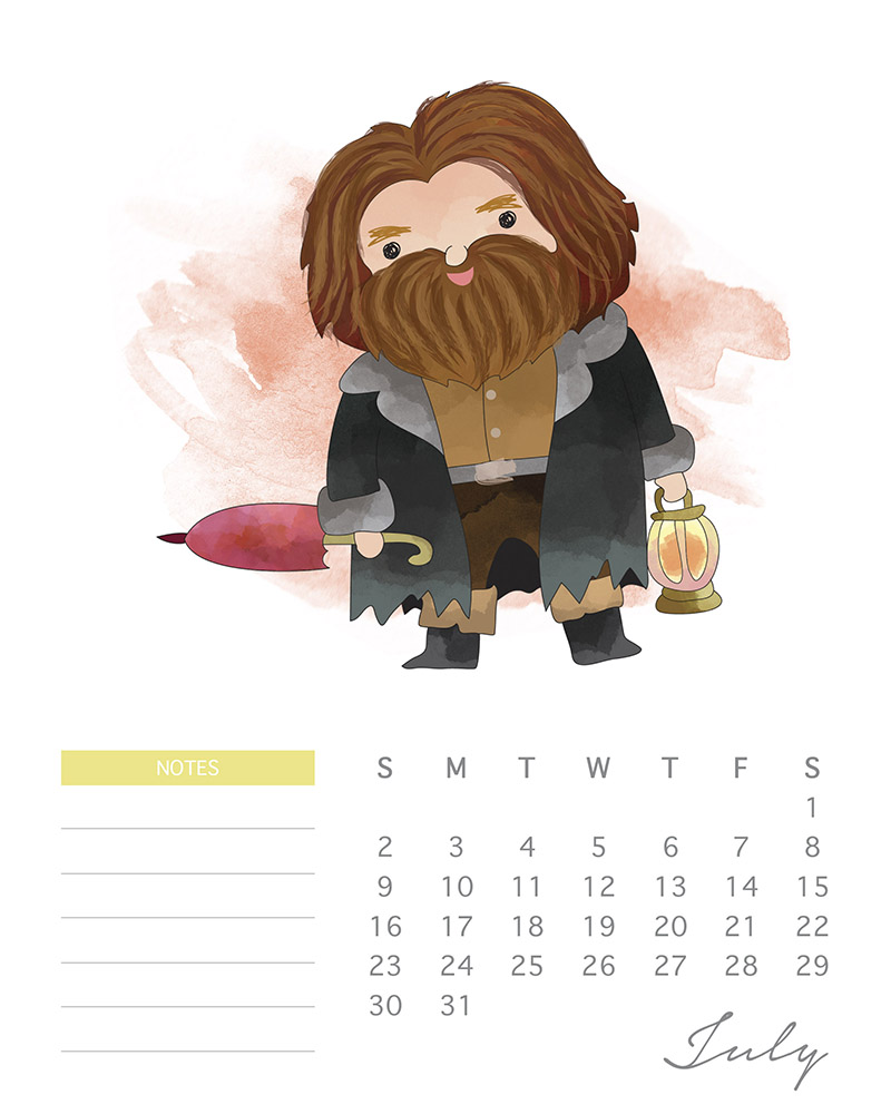 Hagrid - Watercolor Harry Potter calendar - July 2017
