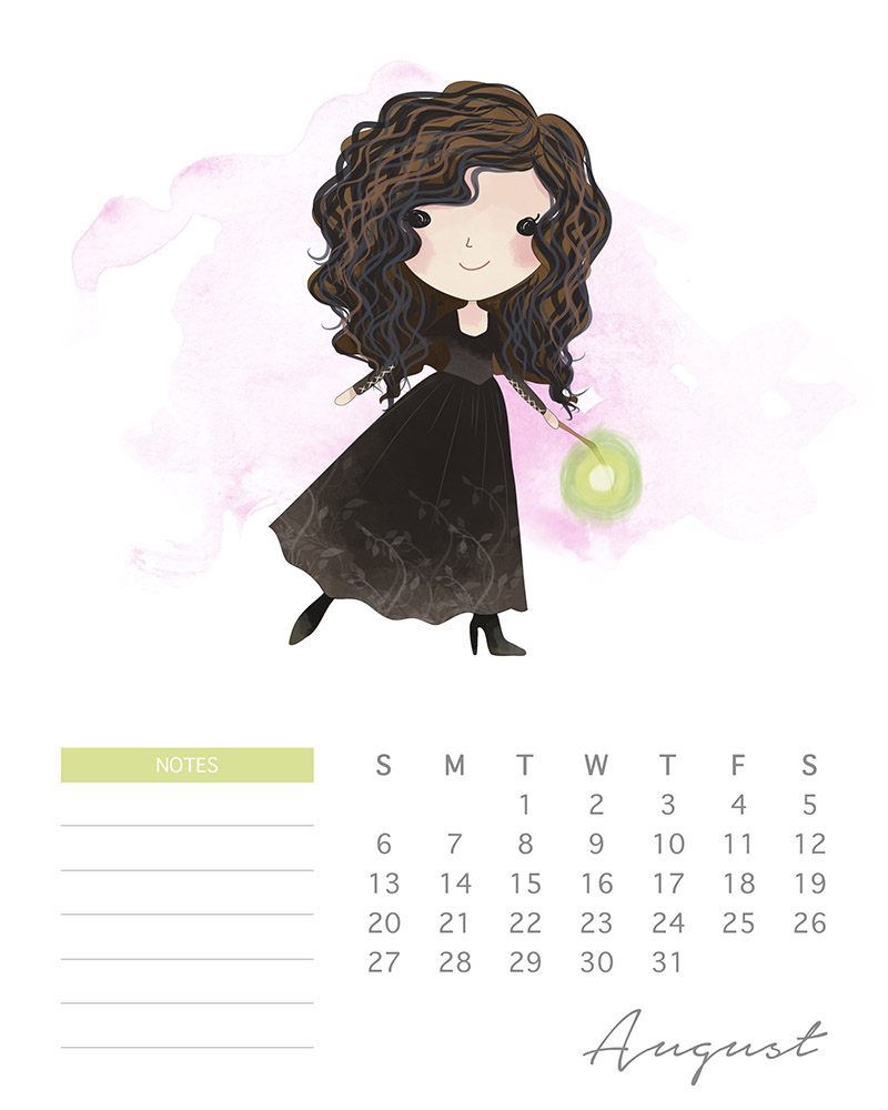 Bellatrix LeStrange - Harry Potter watercolor calendar - August 2017
