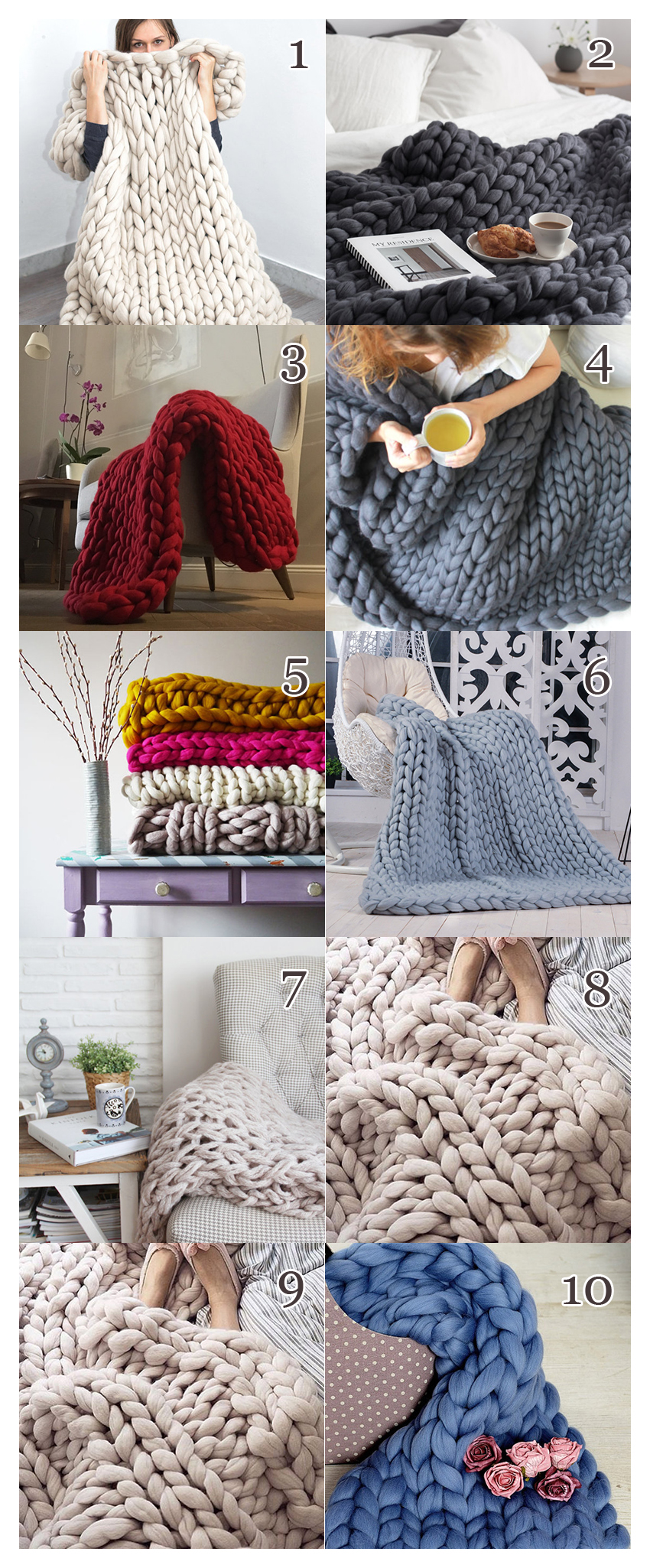 These knit blankets are available from Etsy for those who aren't keen on knitting their own