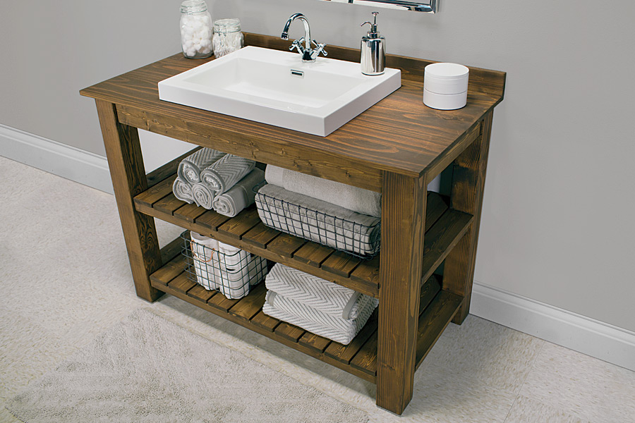 This rustic bathroom vanity offers plenty of storage for towels and linens.