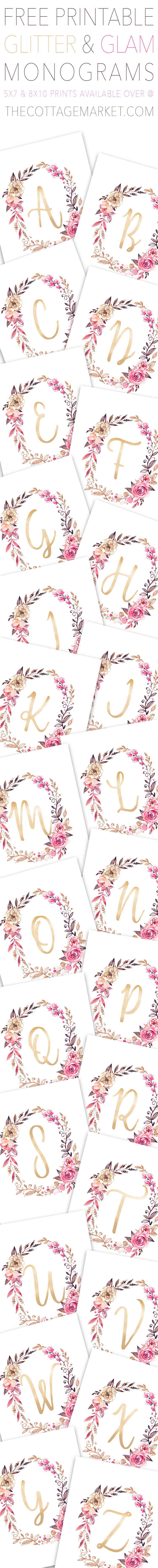 These free printable monogrammed letters are colorful and glittery.