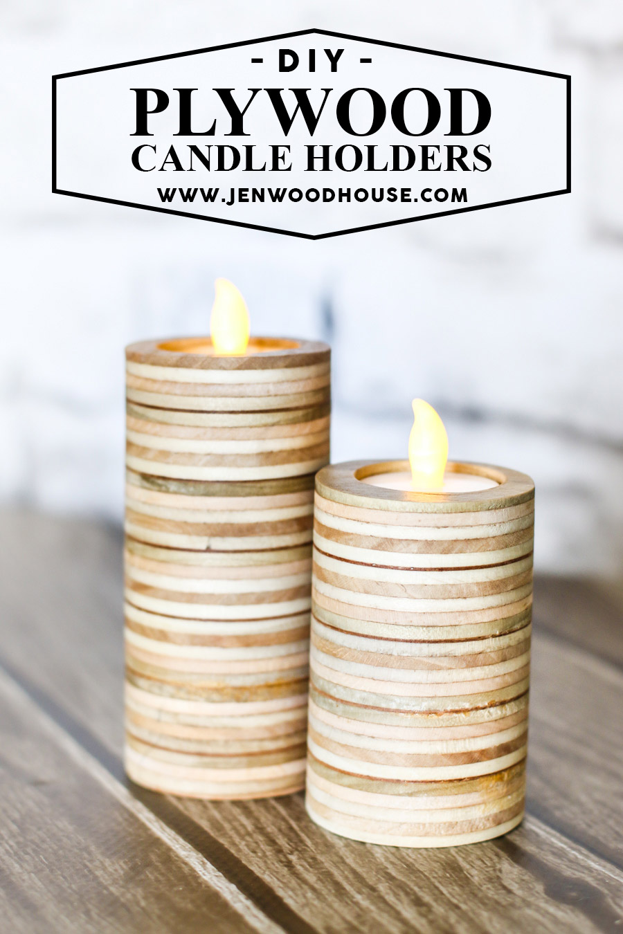 These DIY plywood candle holders are one of a kind.