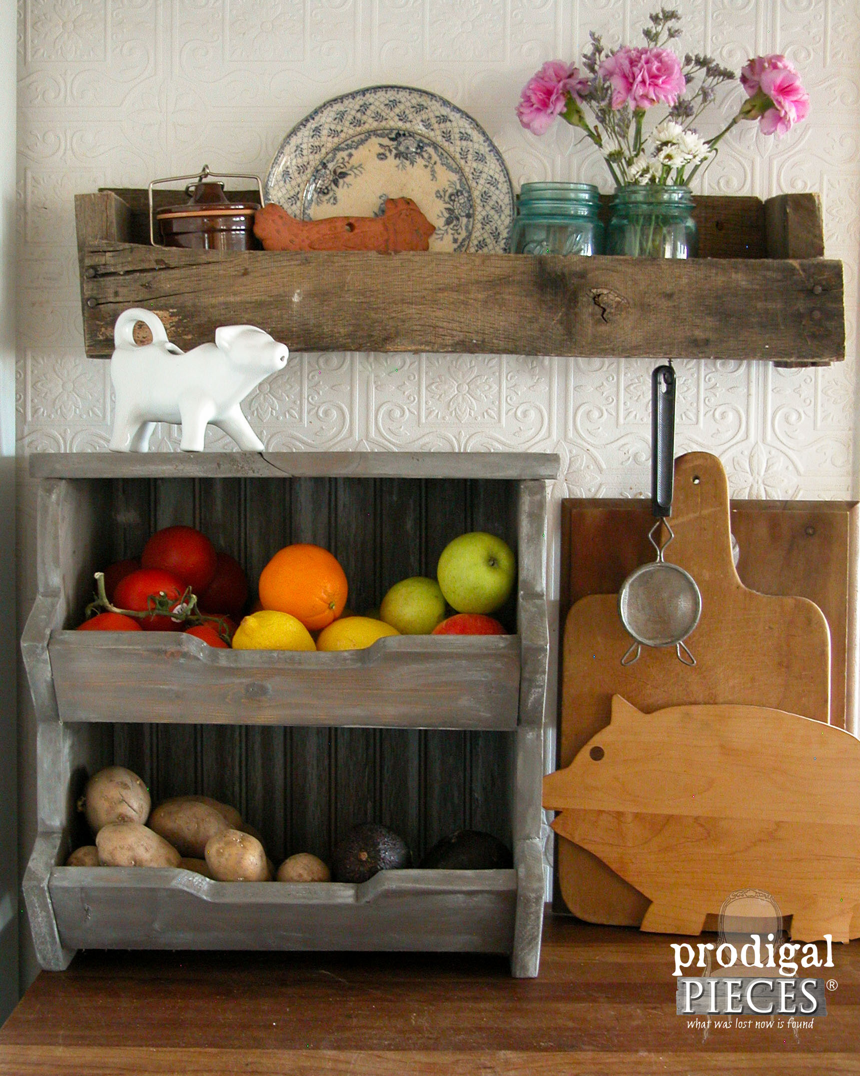 This cute kitchen counter is the perfect balance of distressed farmhouse woods and intricate back splash.