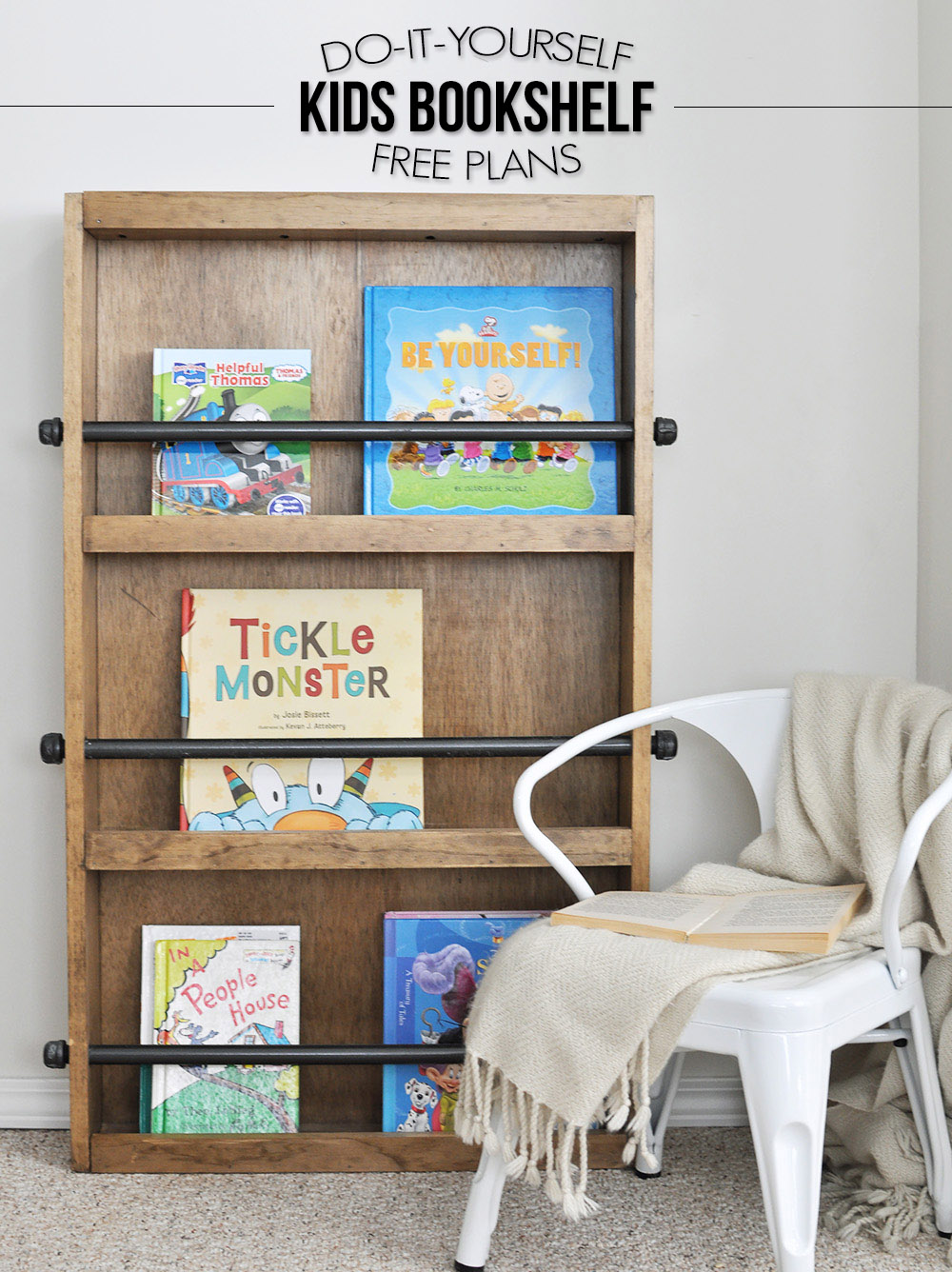 This DIY bookshelf adds the farmhouse, wooden element to the kids room.