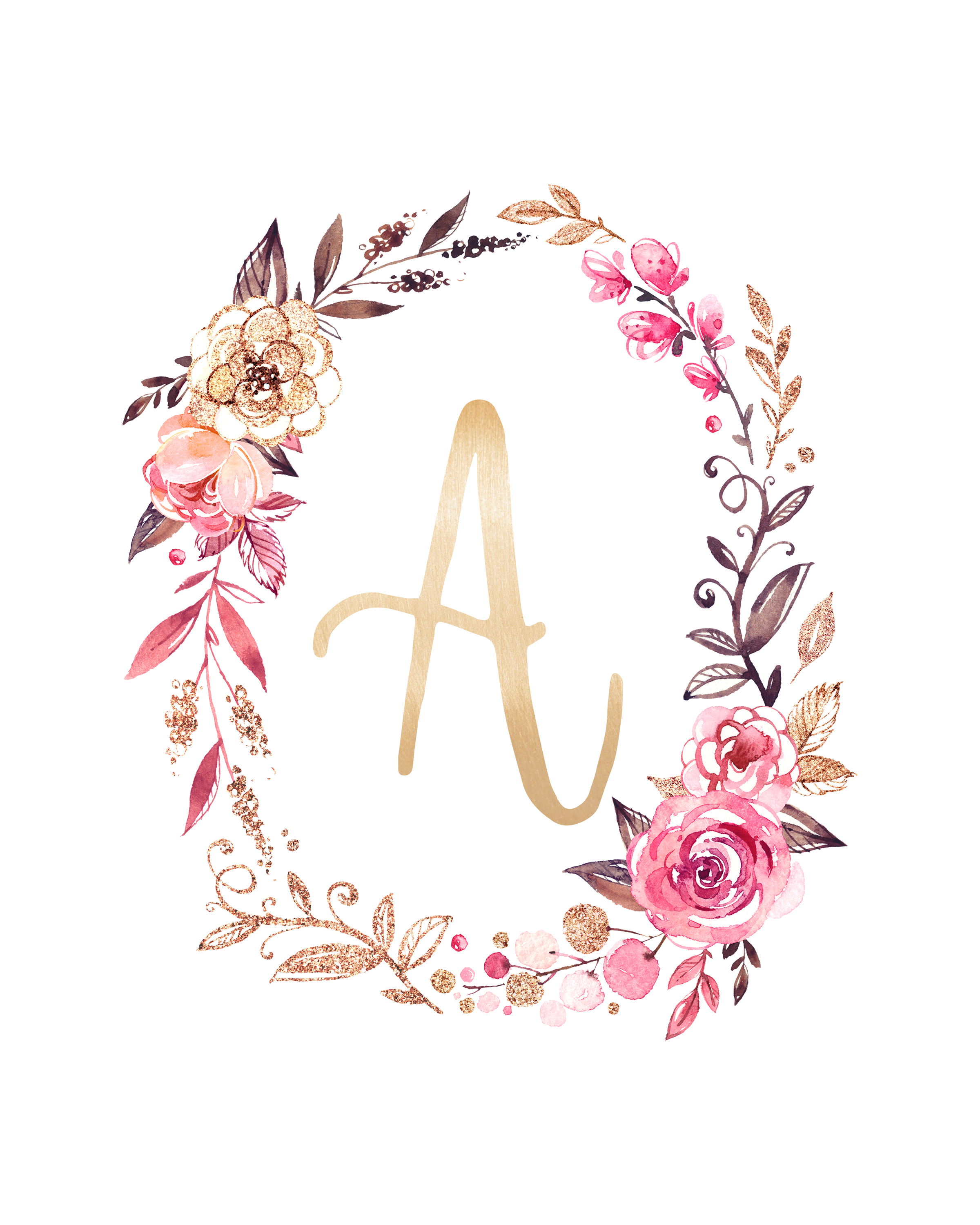 Free Printable Glitter And Glam Monograms