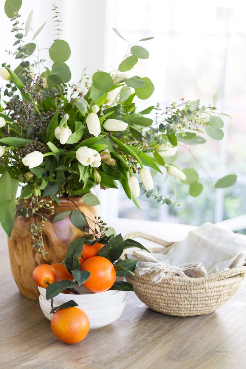 Adding a touch of Spring with Farmhouse Flower Ideas is a quick and easy way of adding charm, a pop of pretty and freshness to any room or space.