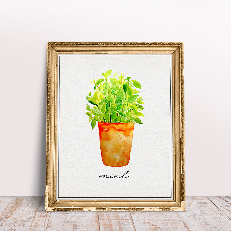 This herb printable featuring fresh green mint in a vase is adorable.