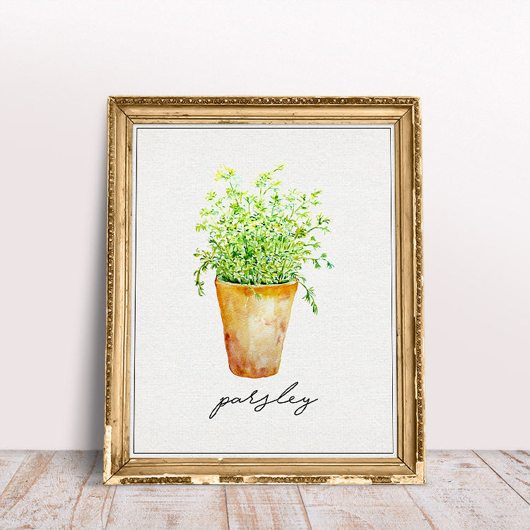 This parsley printable features fresh herbs and a cute, simple font.
