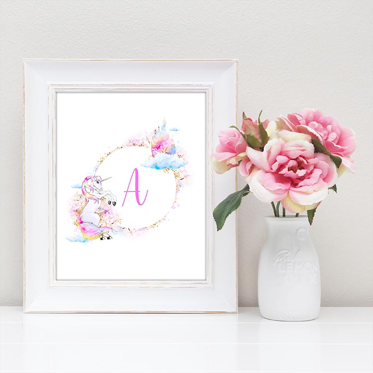 Use these free unicorn printable monograms to create a banner, personalized artwork, and more