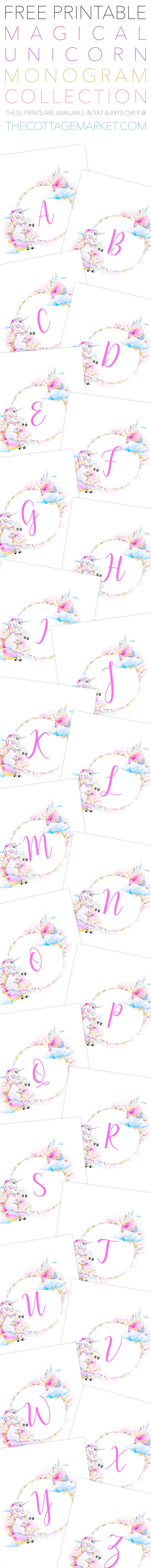 Free Unicorn Printables - Magical Unicorn Monograms